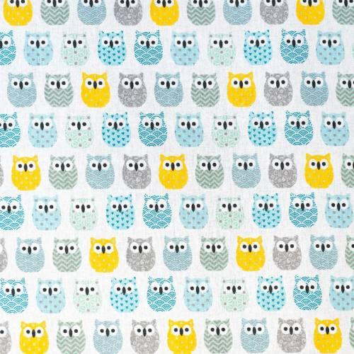 Coton blanc motif hiboux gris, bleus et jaunes