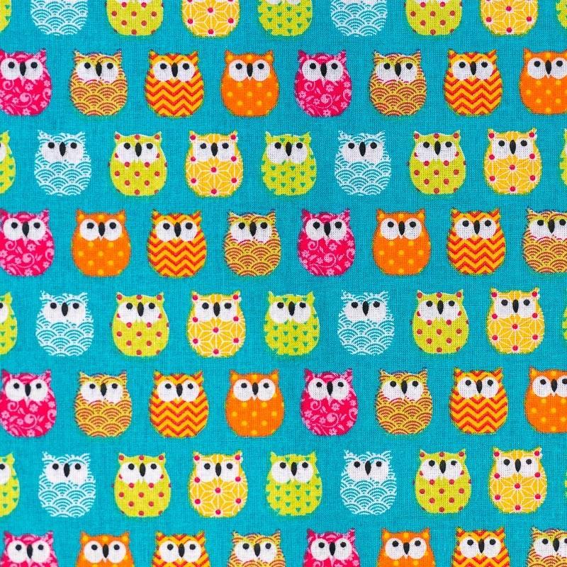 Coton bleu motif hiboux multicolores
