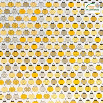 Coton blanc imprimé lampions jaunes