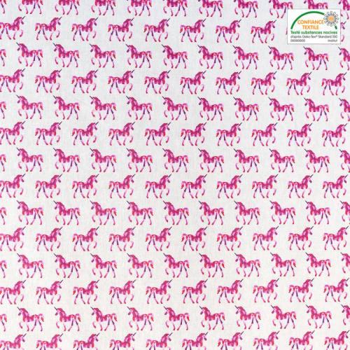 Coton blanc imprimé licorne graphique rose
