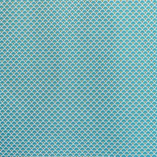 Coton imprimé éventails bleu canard et or