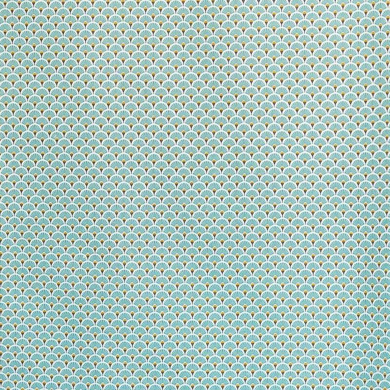 Coton imprimé éventails vert d'eau et or