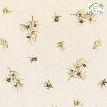 Tissu provençal écru imprimé oliviers