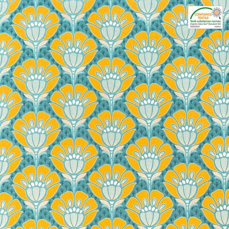 toile coton motif japonais lurex dor et bleu pas cher tissus price. Black Bedroom Furniture Sets. Home Design Ideas