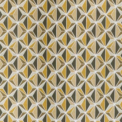 Coton moutarde imprimé kirigami