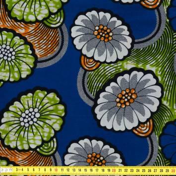 Wax - Tissu africain motif fleurs bleus et blanches 59