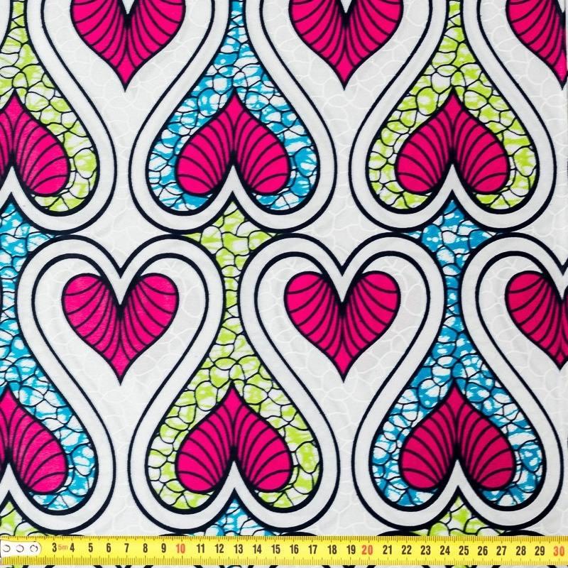 wax tissu africain motif coeur blanc bleu pas cher tissus price. Black Bedroom Furniture Sets. Home Design Ideas