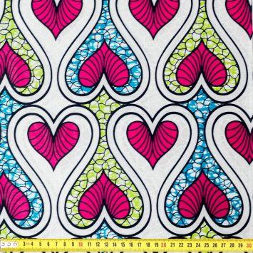 Wax - Tissu africain motif coeur blanc bleu rose et vert 58