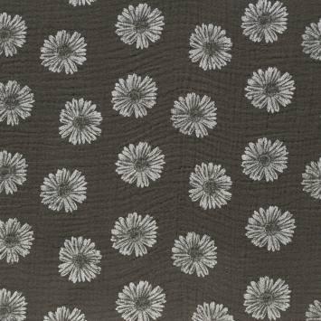 Double gaze taupe imprimée fleurs