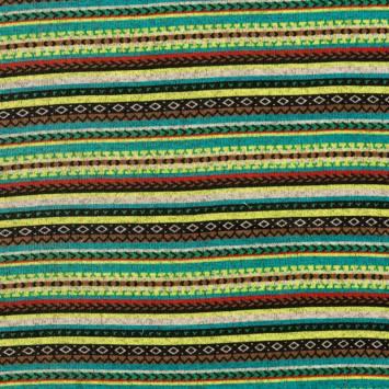 Lainage pour pull motif jacquard multicolore fluo