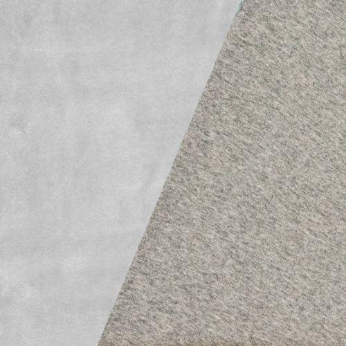 Tissu molleton gris réversible gris clair
