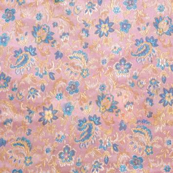 Satin asiatique rose motif fleurs bleues et jaunes