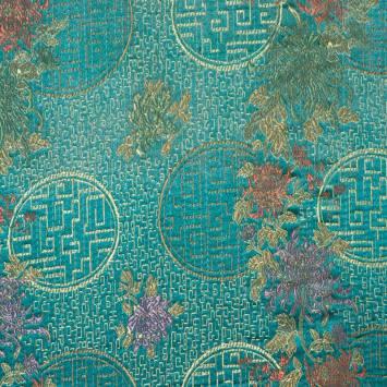 Satin asiatique bleu canard motif cercle et fleur
