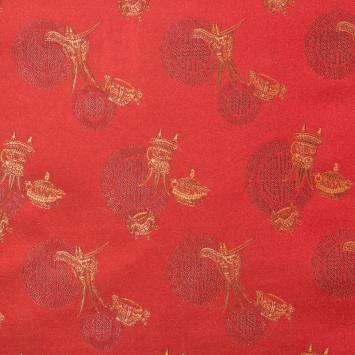 Satin asiatique rouge motif ronds