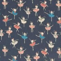 Tissu jean bleu foncé motif danseuse