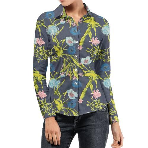 Tissu jean bleu foncé motif fleur multicolore