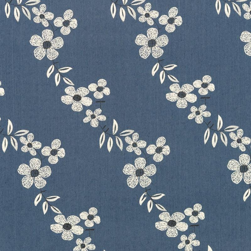 Tissu jean bleu motif fleur pas cher tissus price - Tissu liberty pas cher ...