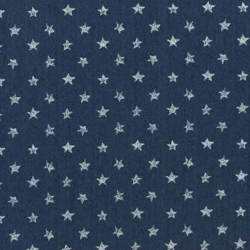 Tissu jean bleu foncé motif étoile