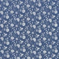 Tissu jean bleu clair motif fleuri