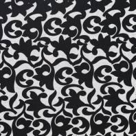 Punto milano gris imprimé arabesques noire