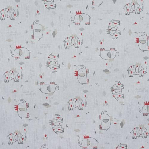 Coton blanc éléphant gris et rouge