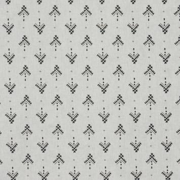Coton blanc petit dessin ethnique noir et taupe