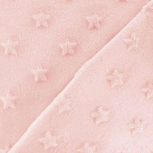 Minky rose pastel relief étoiles