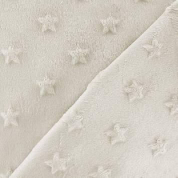 Minky écru relief étoiles