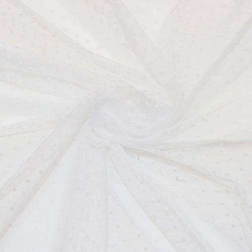 Tulle extensible blanc à pois ivoires