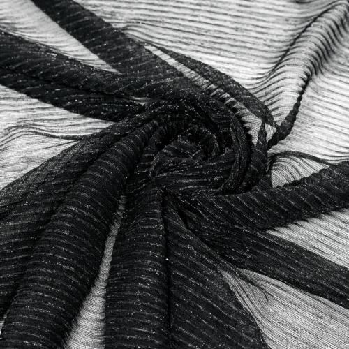 Résille noire plissée à paillettes