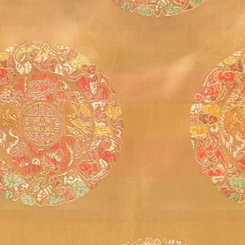 Satin asiatique jaune motif ronds