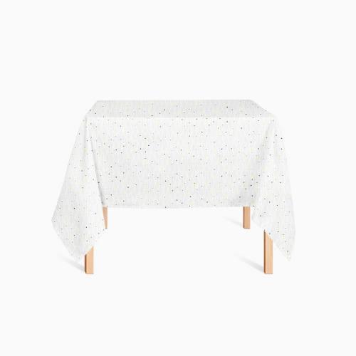 Coton blanc imprimé sapin géométrique