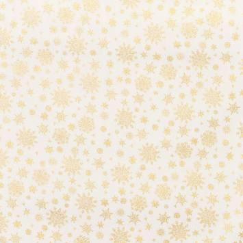 Coton écru imprimé flocons dorés