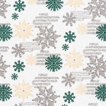 Toile écrue imprimée flocons de Noël verts