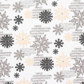 Toile écrue imprimée flocons de Noël dorés