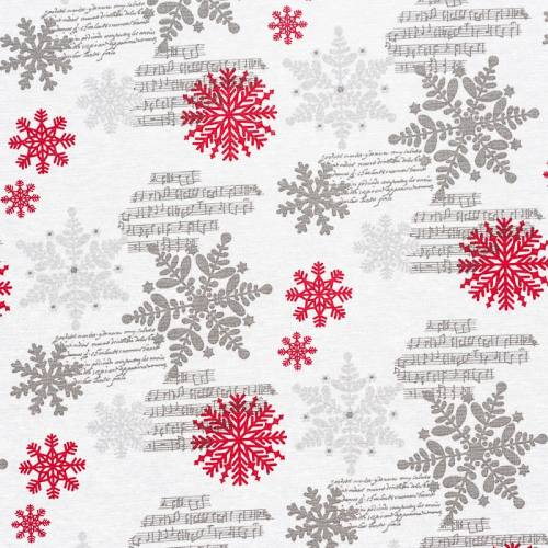 Toile écrue imprimée flocons de Noël rouges