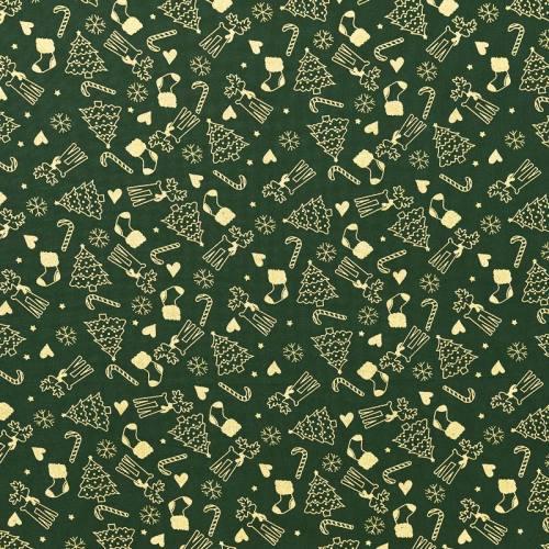 Coton Noël vert imprimé de Noël doré