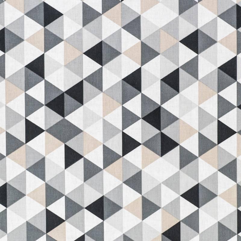 coton motif g om trique gris pas cher tissus price. Black Bedroom Furniture Sets. Home Design Ideas