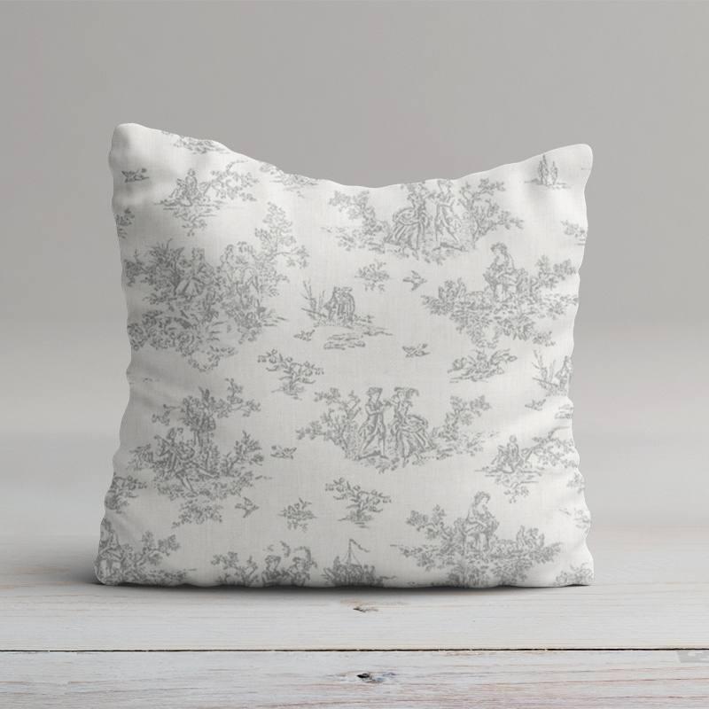 coton blanc effet toile de jouy grise pas cher tissus price. Black Bedroom Furniture Sets. Home Design Ideas