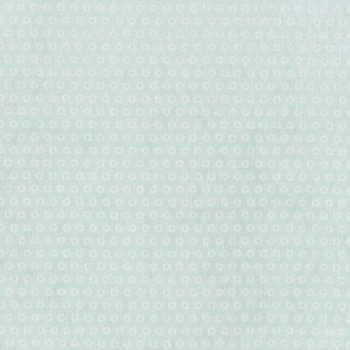 Coton vert d'eau motif fleurs sowi