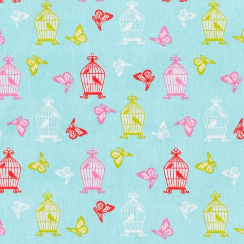 Coton bleu motif cages oiseaux et papillons