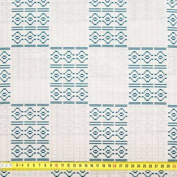 Wax - Tissu africain blanc et vert pailleté 64