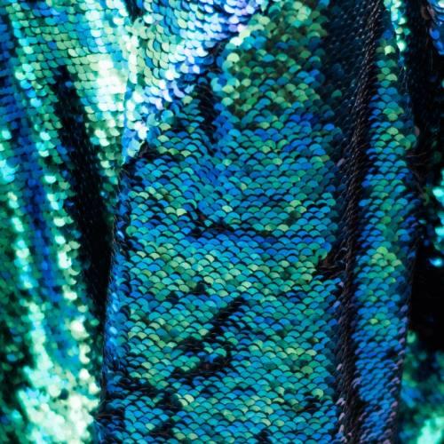 Tissu sequins réversibles vert/noir mat