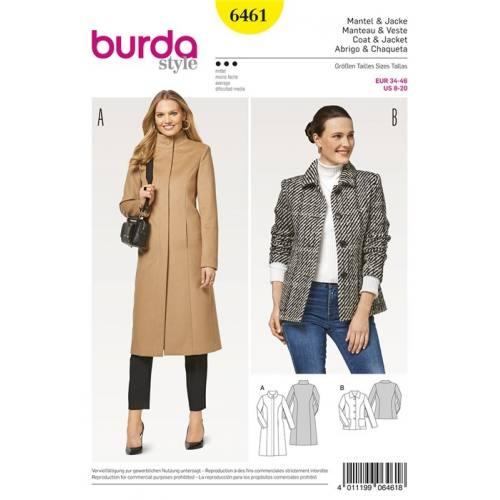 Patron Burda 6461 : Manteau et veste 34-46