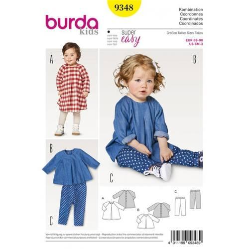 Patron Burda 9348 : Ensemble coordonné bébé Taille 68-98 cm