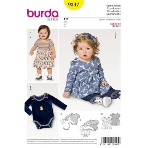 Patron Burda 9347 : Ensemble robe body bébé Taille 62-92 cm