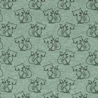 Tissu molleton French Terry chiné vert d'eau imprimé renards