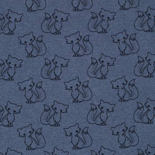 Tissu molleton French Terry chiné bleu jean imprimé renards