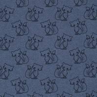 Tissu molleton French Terry chiné bleu jean imprimé renards