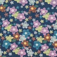 Tissu jean bleu foncé motif fleur colorée